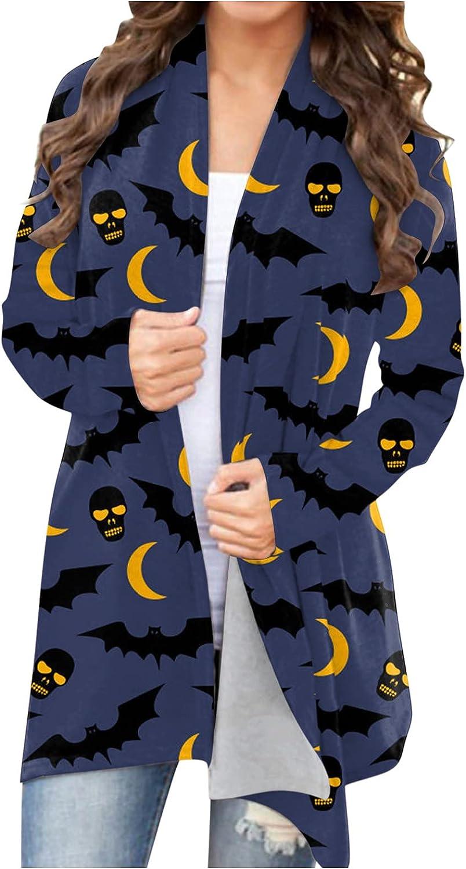 UOCUFY Halloween Cardigan for Women, Womens Funny Cute Pumpkin Ghost Graphic Open Front Top Long Sleeve Lightweight Coat