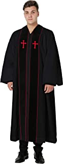 Unisex Clerical Clergy Robe for Pulpit with Bell Sleeves Black