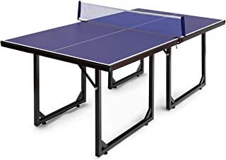 Goplus Foldable Ping Pong Table, 99% Preassembled Multi-Use Midsize Compact Table Tennis with Net, Indoor/Outdoor Mini Tennis Table