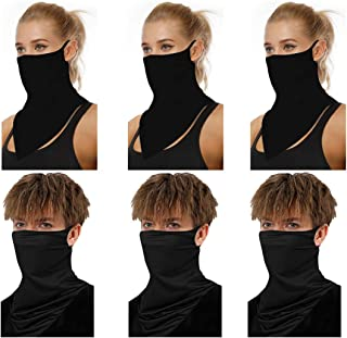 ATIMIGO Face Mask Mouth Cloth Cover Bandanas with Ear Loop Neck Gaiters Scarf for Dust Wind Motorcycle Outdoors Sports-6 Pack
