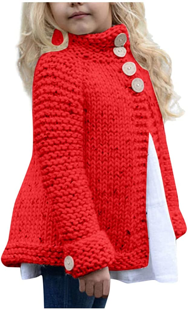 FEISI22✿ Girls Cardigan Sweaters Button Up Cotton Cardigan Long Sleeve Kids Button Sweater Crew Neck Cardigans Sweater Red