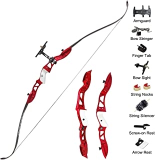 "Tophunter Archery Recurve Bow,Takedown Recurve Bow 66"" with Bow Set for for Adults,Men Women, Hunting Long Bow Metal Riser for Right Handed 20-40lbs Draw Weights"