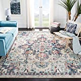 Safavieh Madison Collection MAD473B Boho Chic Medallion Distressed Non-Shedding Stain Resistant Living Room Bedroom Area Rug, 9' x 12', Cream / Blue