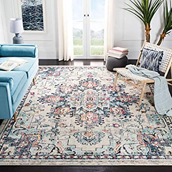 Safavieh Madison Collection MAD473B Boho Chic Medallion Distressed Non-Shedding Stain Resistant Living Room Bedroom Area Rug 9  x 12  Cream / Blue