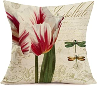 YANGYULU PillowCovers Beautiful Flowers Decorative Tulip with Note Throw BodyPillowCover Standard Pillowcase Cotton Lin...