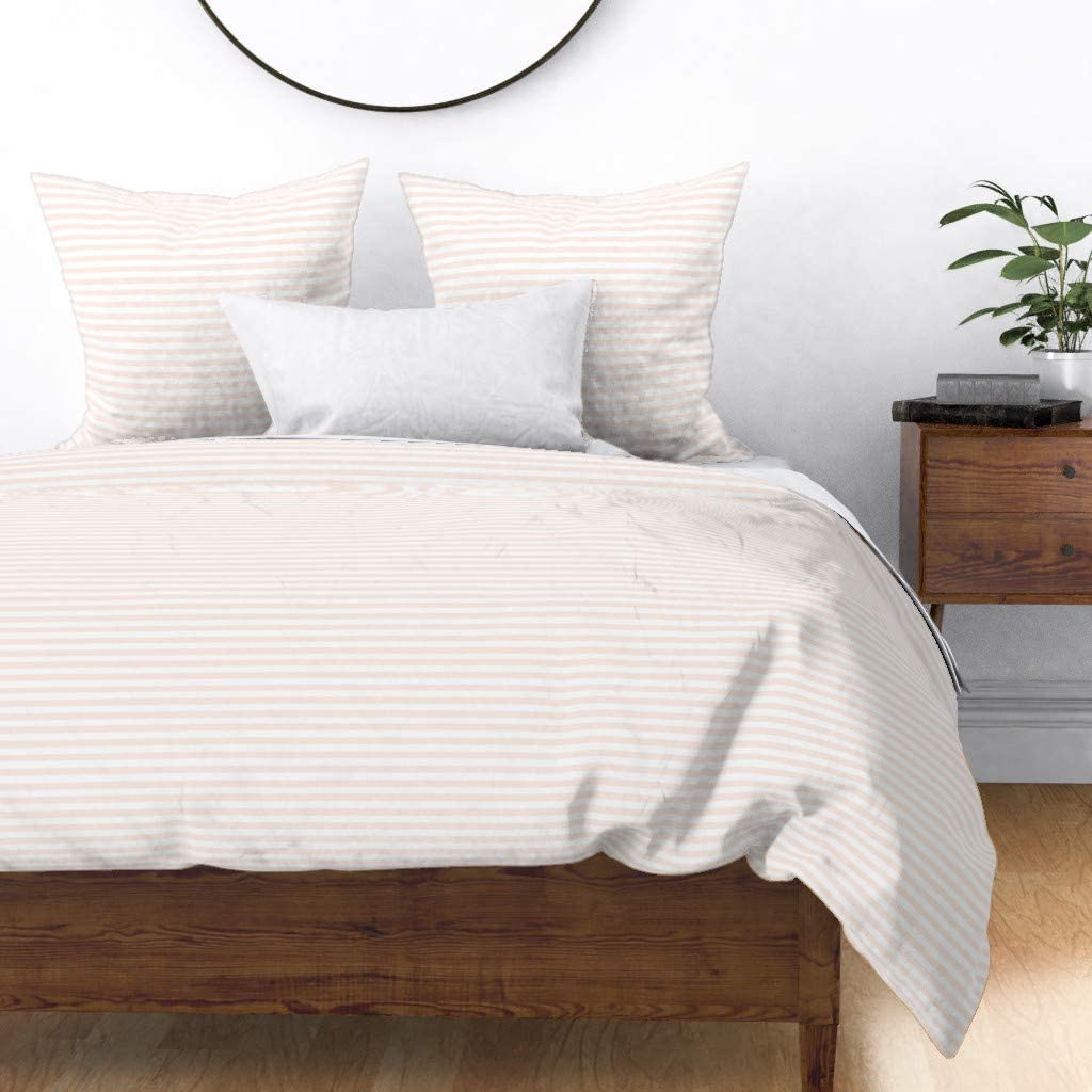 Roostery Duvet Cover Pink and OFFicial mail order Cheap mail order sales R Geometric Striped White Stripes