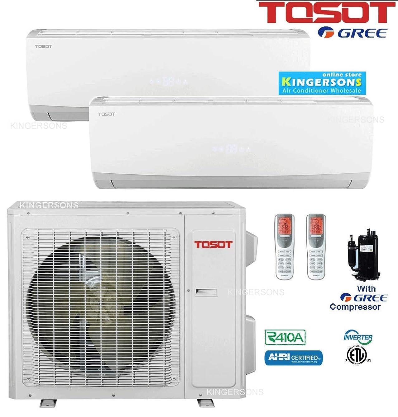 TOSOT GREE Dual Zone Split AIR Conditioner 21,000 BTU with 12,000 Btu x 9,000 BTU Wall Unit SEER 22 Energy Star Toshiba Compressor
