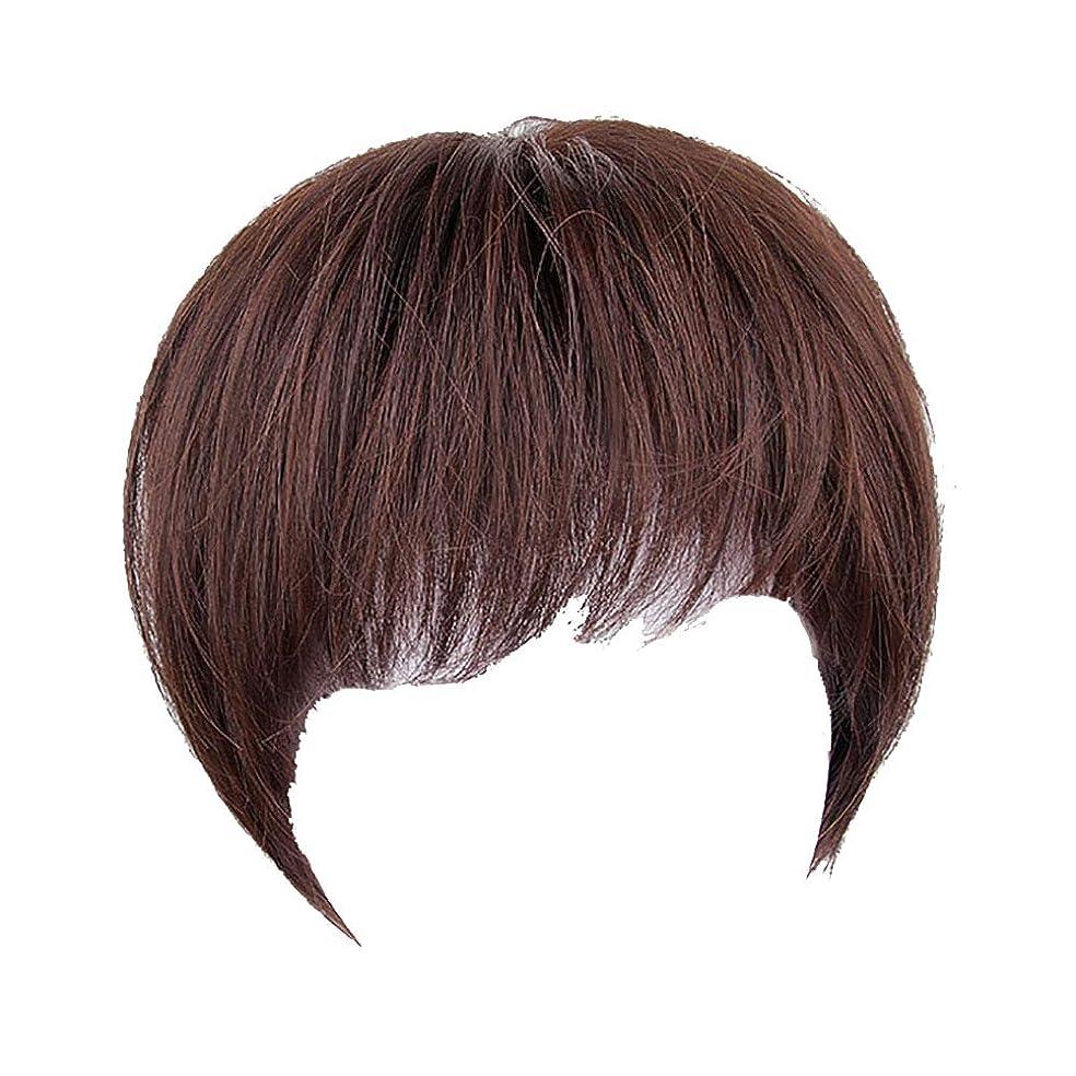 恐ろしいです電圧ヘッジかつらの女性の短い髪の2つのファッションは、自然な短いストレートの髪のファッションハンサムな偽の頭飾り