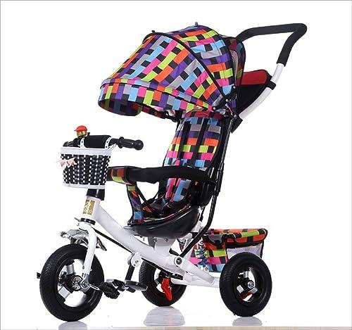 Strollers DD Bicicleta de bebé Bicicleta Infantil de 8 Meses en Bicicleta - 6 años, con toldo, neumático de Goma Completo Triciclo Bebe