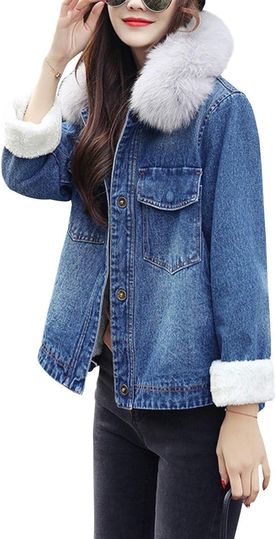 Gihuo Women's Long Denim Coat Faux Fur Hooded Fleece Lined Jacket Outerwear