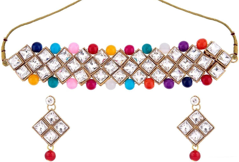 Efulgenz Indian Bollywood Traditional Gold Tone Kundan Faux Pearl Bridal Choker Necklace Earrings Jewelry Set