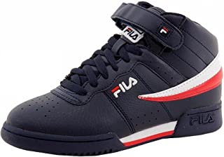 Boy's F-13 Navy/White/Red Leather Mid-Top Basketball Sneakers Shoes