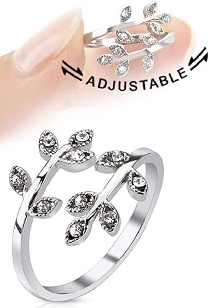 Covet Jewelry Leaves with Paved Gems Adjustable Rhodium Plated Brass Mid-Ring/Toe Ring (Clear)