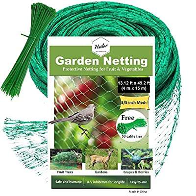 HSelar Best Bird Netting - Protect Plants and Fruit Trees from Birds and Wildlife – 13.12Ft x 49.2Ft Bird Netting with 50 Pcs Nylon Cable Ties - Reusable Instantly (Large Size)
