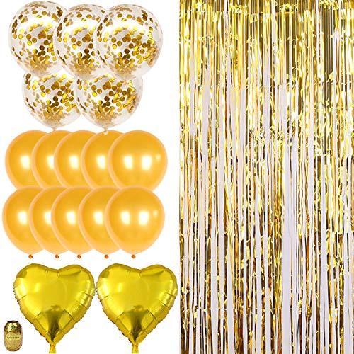 Nakeey 20 Stück Party Deko Lametta Vorhang Gold, Herz Folienballon Gold für Party Deko,Hochzeitsdeko,Geburtstagsparty Silvester deko