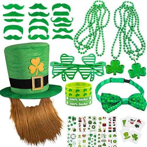 Whaline 97 Pcs St. Patrick's Day Party Favor Set with St. Patrick Hat, Green Mustaches, Lucky Bracelet, Eyeglass and Shamrock Necklace, Bow Tie and Tattoo Sticker for St. Patrick Irish Party Supplies Decorations
