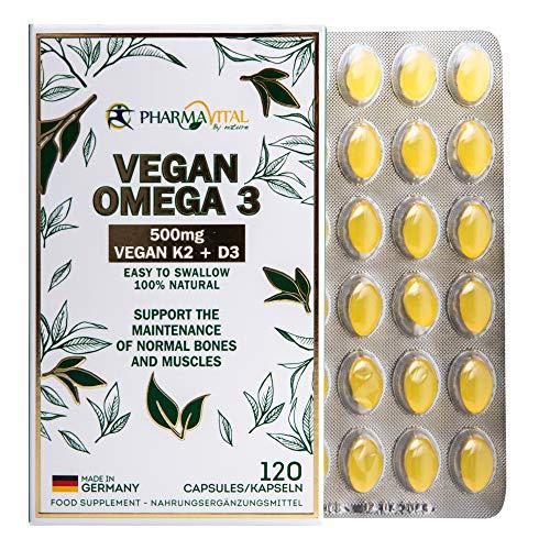 100{2b96bcef9bfe9b0ba7ceb8865c7d5108aded5575fdd231fcdba5d30d2b87a435} Vegan Omega 3 hochdosiert aus Deutschland mit EPA und DHA plus K2 Vital Delta und D3, veganes Omega3 aus Algen-Öl (120 Stück)