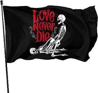 EKOFECK Pirate Love Never Dies Flag 3x5 Feet Banner Patio Lawn & Garden Outdoor Decoration Flags 90x150CM