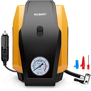 SUAOKI Air Compressor Pump 150 PSI 12V DC Portable Tire Inflator with Gauge and Emergency Light for Cars, Motorcycles, Bicycles and Basketballs (30L/Min)