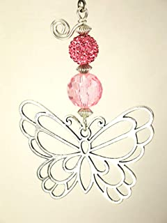 Beautiful Silver Butterfly with Pale Soft Pink Rhinestone and Faceted Glass Ceiling Fan Pull Chain