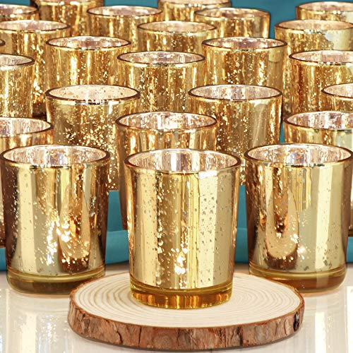 DEVI Gold Votive Candle Holders 24pcs, Fall Wedding Decorations for Table Centerpieces, Valentines Day Decorations, Anniversary Bridal Shower Birthday Party Table Decorations