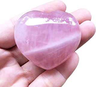 """Hslutiee 1.7"""" Polished Crystal Heart Love Pocket Palm Stone, Hand Carved Smooth Heart Shaped Worry Stone Healing Chakra Re..."""