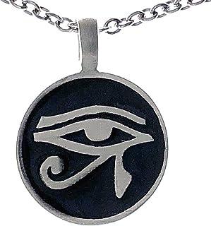 Ohdeal4U ブラック ラホルスの目 ウォジェット?ウェッジヤット エジプトのシンボル 保護 シルバー ピューター ペンダント ネックレス チャーム アミュレット ステンレススチール チェーン