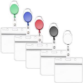 Fushing 5PCS Horizontal ID Badge Holders PVC Card Holders with Retractable Badge Carabiner Reel Clips Badge Reels (Multicolor)