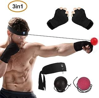 WLMall Bola Boxeo Reflejo, 2 Reflex Ball + Vendas de Boxeo (Training Mejorar Las Reacciones y Velocidad/Descompresión) - Portátil Entrenamiento de Boxeo para (Adulto/Niños) Ejercicio Fitness/MMA
