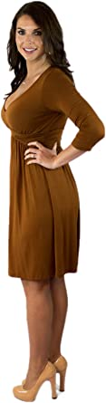 Charm Your Prince Women's 3/4 Sleeve Fall V-Neck Above The Knee Dress