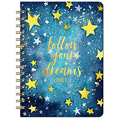 """2021 Planner - Weekly & Monthly Planner with Tabs, 6.3"""" x 8.4"""", Jan. - Dec. 2021, Hardcover with Back Pocket + Thick Paper + Banded, Twin-Wire Binding - Blue Star"""