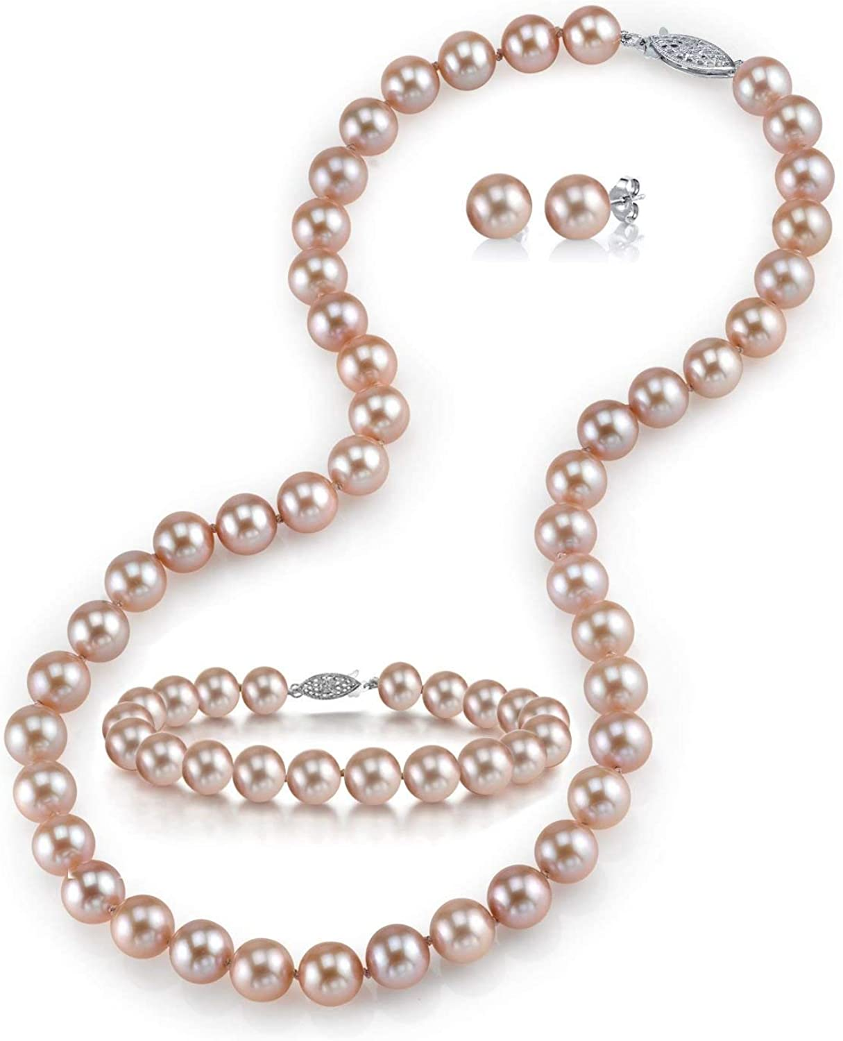flower girl gift Fresh water pink pearl necklace Real pearl necklace Pearl illusion necklace Bridesmaid necklace Bridesmaid jewelry