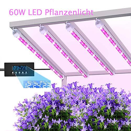 MIXC pflanzenlampe 60W LED Pflanzenleuchte, Pflanzenlicht Wachsen licht Vollspektrumverbesserte Grow Lampe 24 Stunden Radfahren 5 dimmbare rot/gelb für Pflanze Sukkulenten Sämling [4-Pack]