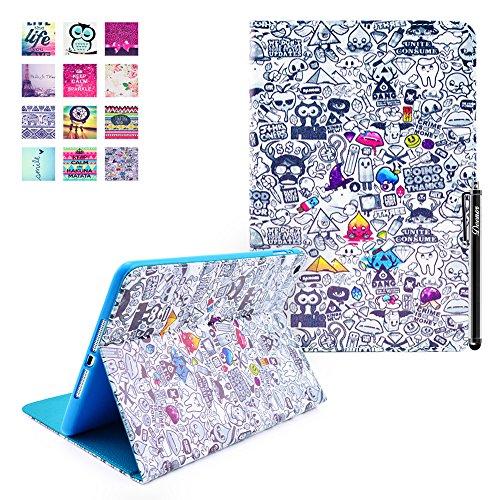 Custodia per iPad Mini 3, Deenor Vintage Painting Style Pattern PU Pelle Cover Stand Flip Custodia Cover per Apple iPad Mini 1/2/3 Generation. (Vintage Painting)