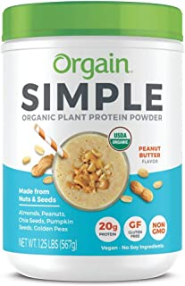 Orgain Simple Organic Plant Protein Powder, Peanut Butter - 20g Protein, Vegan, Dairy and Gluten Free, Stevia Free, Made w...