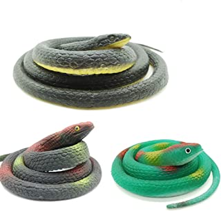 DE 3 Pieces Realistic Rubber Snakes in 2 Sizes 47 Inches and 29 Inches, Fake Snake Black Mamba Snake Toys for Garden Props...