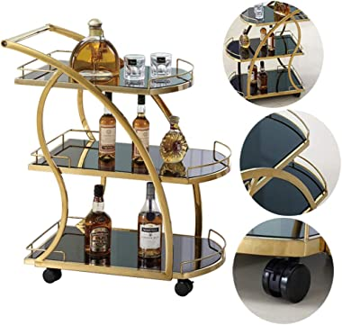 Koovin Stainless Steel Bar and Serving Cart with Wheels, Bar Tea Wine Cart for Home, Dining Room Trolley with Tempered Glass, Gold