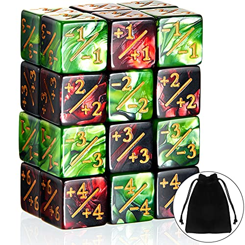 24 Pieces Dice Counters Token Dice D6 Dice Cube Loyalty Counter Dice Compatible with MTG, CCG, Card Gaming Accessory, 2 Styles