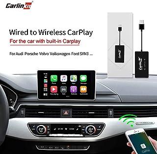 Carlinkit inalámbrico Carplay USB Dongle Compatible con el Coche Carplay de fábrica, Audi/Porsche/Volvo, botón del Volante de Apoyo/Control Original del automóvil