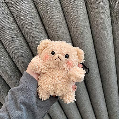 Airpods hoesje, super schattig kleine beer pluche beschermhoes voor Apple Air Pods koptelefoon oordopje, schokbestendig en duurzaam - 1 stuk, Lichtbruin