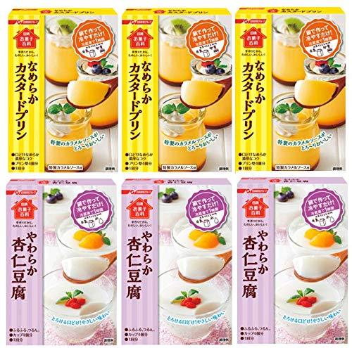 日清 お菓子百科 なめらかカスタードプリン×3個 やわらか杏仁豆腐×3個(合計6個)