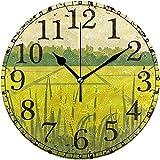 Eileen Max Reloj de Pared Campo de arroz Verde Pintura de montaña Reloj Redondo de acrílico Reloj Negro de Grandes números Decorativo