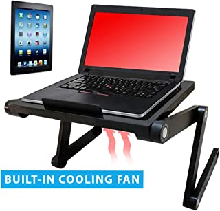 Vented Laptop&Tablet Stand by Desk York-Great for Book Reading - Use it in Bed,Couch,Sofa -Birthday Gift for Friends Men Women Student-Foldable Computer Recliner Stand -Lap Top Tray-Black