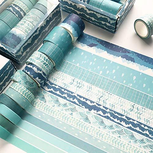 YUBX Washi Tape Set Masking Tape Dekoratives Klebeband Bunt für DIY Handwerk Bullet Journals Planer Scrapbooking Verpackung (Blue Tracks)