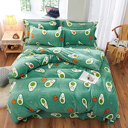 Shinon duvet cover set king size,Autumn and winter cartoon thick warm short plush student bed single king single extra large Christmas duvet cover-N_1.8m bed (4 pieces)