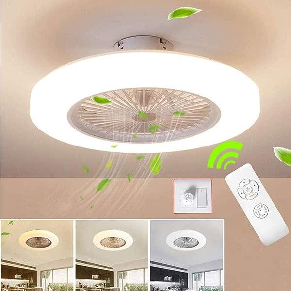 SLZ Ceiling Fan With Lighting LED Fan Ceiling Fan 36 W Ceiling Lighting Dimmable With Remote Control 3 Files Adjustable Wind Speed Modern Bedroom58CM Clear