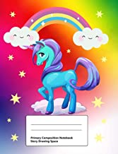 Primary Composition Notebook: Story Drawing Space: Draw and Write Journal, Half Blank Half Ruled, Handwriting Practice Paper Notebook, 100 Pages, ... Lines, Cute Designs Unicorn and Rainbow Blue