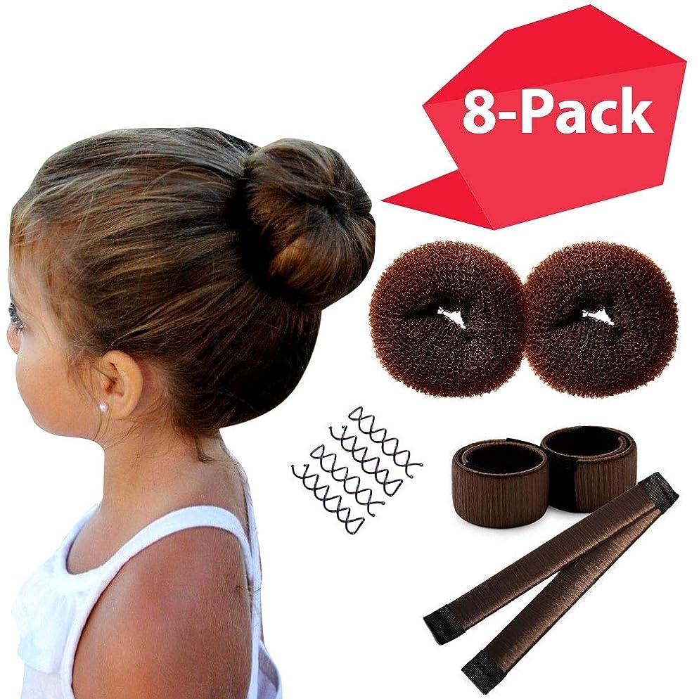 Brown Magic Hair Bun Shaper 8-PACK MINI BUNS   Essentials for the BEST Small Hair Buns   2 Donuts + 2 Snap Bun Makers + 4 Spin Pin Bobby Pins   Ballet Bun Maker Kids   Easy Hair Bun Women Girls Kids