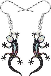 NEWEI Acrylic Halloween Geometric Animal Gecko Earrings Drop Dangle Jewelry For Women Girls Teens Kids Charm Gifts