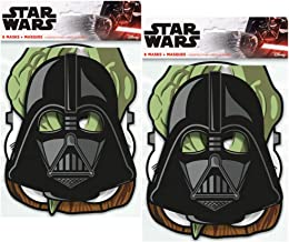 Star Wars Birthday Party Masks ft. Yoda, Chewbacca, Darth Vader and Storm Trooper, 8 ct (2 Pack)